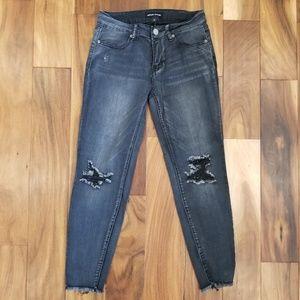 Ashley Mason grunge faded black gray jeans cropped